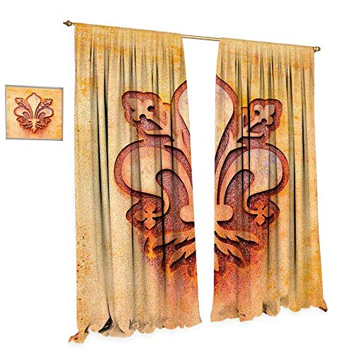 cobeDecor Fleur De Lis Window Curtain Fabric Lily Flower Symbol on Plate Floral Design Royal Arms France Sign Cultural Print Drapes for Living Room W96 x L96 Orange