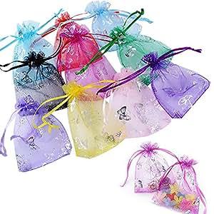 INTVN Bolsas Organza Mariposas Joyería Caramelo Regalo Bolsitas Boda Fiesta Favores 100 Piezas, 9 x 12 cm, 10 Colores