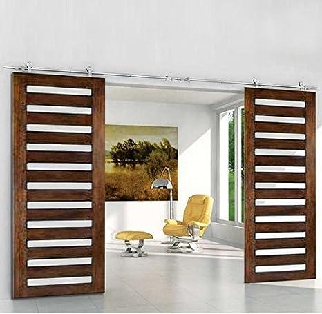 Puerta corredera Hahaemall con cierre de rodillo básico, puerta deslizante resistente, kit de puerta corredera de acero inoxidable, kit para colgar la madera tipo puerta de granero: Amazon.es: Bricolaje y herramientas