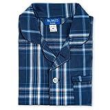 Bill Baileys Sleepwear Men's Broadcloth Woven Pajama Set (Large T, Grey Blue Plaid)