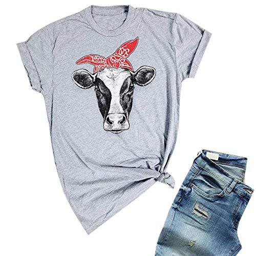 Ivay Women's Paisley Bandana Cow Cute Hippie Short Sleeve Tee Shirt Red ()