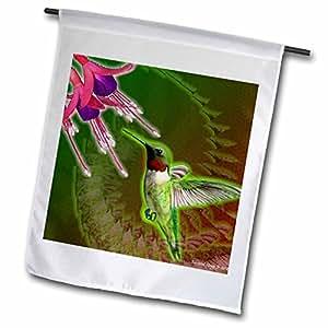 Edmond Hogge Jr Hummingbirds - Ruby Red Hummingbird and Fuchsia Flower - 12 x 18 inch Garden Flag (fl_50331_1)