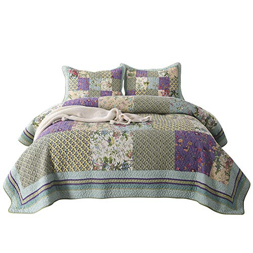 NEWLAKE Bedspread Quilt Set with Real Stitched Embroidery, Bohemian Garden Pattern,King Size