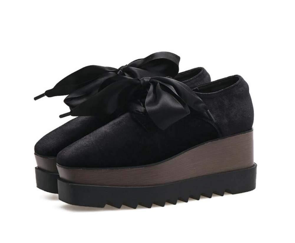 Pumpe Bowknot Plattform Schuhe Frauen 7Cm Keil Ferse 4,5 cm Wasserdichte Plattform Muffel Schuhe Samtkleider Schuhe EU-Größe 34-39