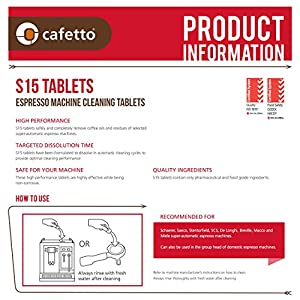 Cafetto S15 High Performance Espresso Machine Cleaning Tablets from Cafetto