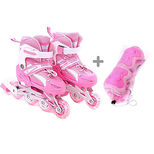 Girls Inline Skates Adjustable Rollerblades for Kids Girls, S size with guard, Illuminating Wheel the Premium Breathable Mesh Roller Skates Double Secure Lock