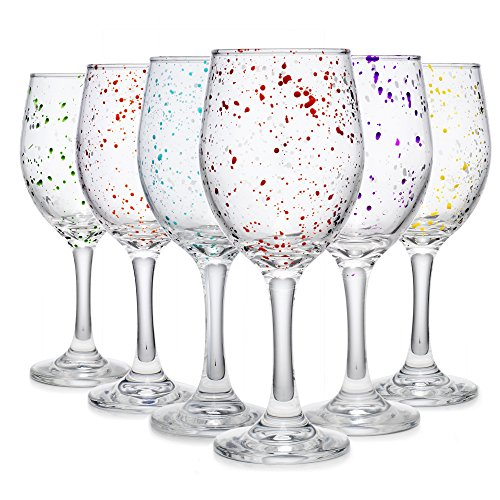 (Carnival Color, Paint Splatter Wine Glass 10 OZ Party Color Set of)