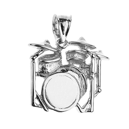 925 Sterling Silver Music Charm Drum Set Pendant