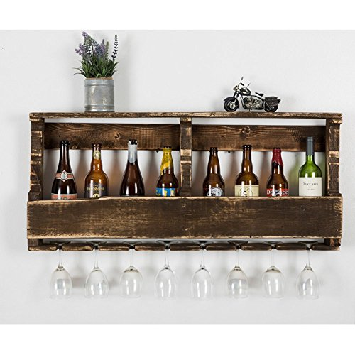 del Hutson Designs - The Original Wine Rack, USA Handmade Reclaimed Wood, Wall Mounted, 8 Bottle 8 Long Stem Glass Holder & Shelf (Walnut)