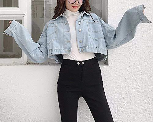 Bello Outerwear Giaccone Donna Glamorous Jeans tasca Semplice Giacche Puro Sciolto Cappotto Manica Autunno Hipster Con Blau Lunga Corto Hell Button Fashion Allentato Multi Colore Primaverile Elegante rrw8d1qg