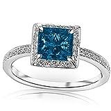 1.3 Carat t.w 14K White Gold Victorian Halo Style Square Shaped Pave Set Round Diamond Engagement Ring w/a 1 Carat Princess Cut Blue Diamond Heirloom Quality