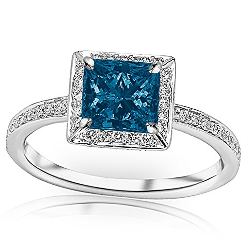 1.3 Carat t.w 14K White Gold Victorian Halo Style Square Shaped Pave Set Round Diamond Engagement Ring w/a 1 Carat Princess Cut Blue Diamond Heirloom Quality (Style Pave Set Diamond)