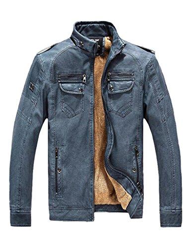 Giacchetta Basic Di Pelle In 1 Vogstyle Stile Blu Attillata Uomo Biker O5EqawX