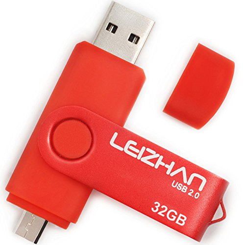 LEIZHAN 32GB OTG USB Flash Drive Red USB 2.0 Pen Drive Gift Suitable for Android Smart Phone System 4.5 Above