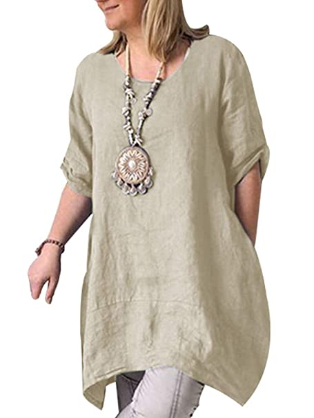uk availability df341 97f75 Feadd Damen Baumwoll Leinen Tunika Tops Halbarm Sommer Loose ...