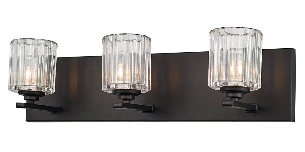 "Contemporary and Unique 3-Light Oil Rubbed Bronze Bathroom Wall Light by Haysoms - Modern and unique damp rated bathroom wall light fixture in an oil rubbed bronze finish with three clear ribbed glass shades. Dimensions: Height - 6"", Length - 22"", Depth - 6"". Requires 3 x maximum 40watt E12 bulbs (LED and low energy bulbs may be used if desired). - bathroom-lights, bathroom-fixtures-hardware, bathroom - 51buvn4nADL -"