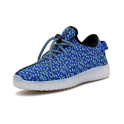 ionlyou® 7 Couleur Unisexe Lumineux Clignotants Mode Chaussures de Sports Chaussure de Course Charge USB LED(Bleu)