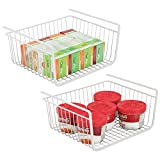 mDesign Household Under Shelf Hanging Wire Storage Organizer Bin Basket Shelf with Open Front for Kitchen Cabinet and Pantry Shelves - Large, Pack of 2, Steel in Durable White Finish