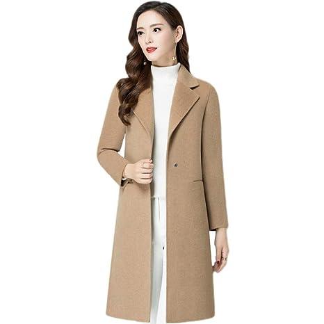 low priced 1dff2 62392 Donna Cappotti Lunghi di Lana Rosa Inverno Kaki Beige ...