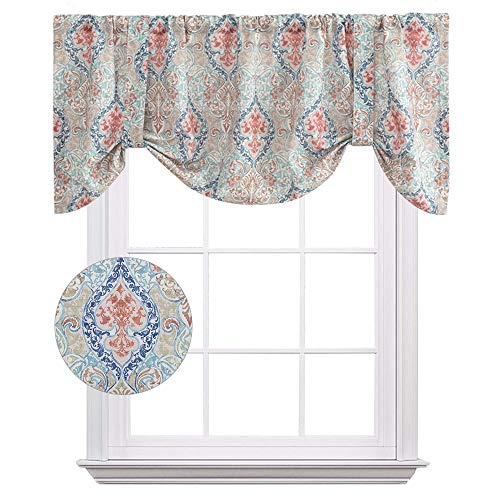 Damask Printed Tie-up Valances for Windows Multicolor Linen Textured Adjustable Tie Up Shade Window Curtain Rod Pocket Medallion Tie-up Valance Curtains 18 Inches Long 1 Panel, - Window Adjustable Valance