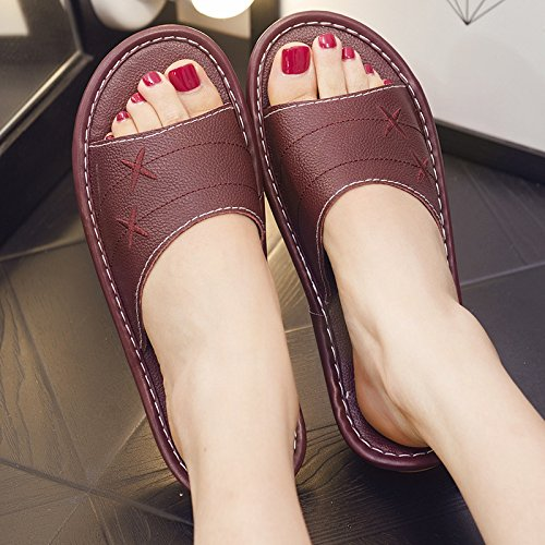 36 Interior Slip Men Slippers 35 and Floor Couples Summer Red Slippers Home Women Deodorization fankou Home Anti Wine and nq8aEqgdY