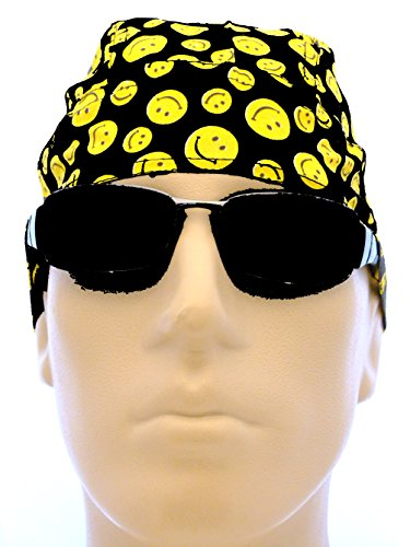 Happy Cap Face (Smiley Face Biker Cap Dots Happy Face Smile Headwrap Du Rag Doo Rag Yellow Black)