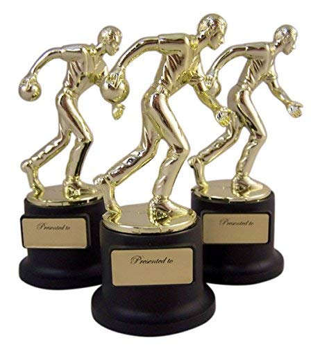 Pack of 3 Black and Gold Sports Award Trophies for Teachers and Kids, 5 Inch (Bowling)