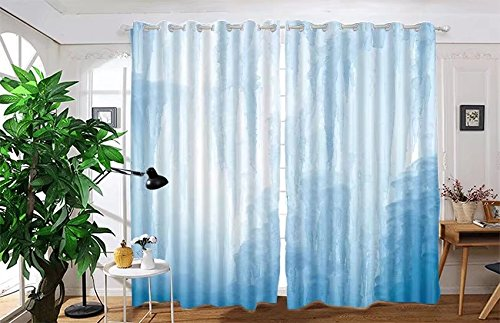 """vanfan 2 Panel Set Digital Printed Blackout Window Curtains for Bedroom Living Room Dining Room Kids Youth Room Window Drapes(W84""""x L95"""", A frozen waterfall withcen a blu)"""