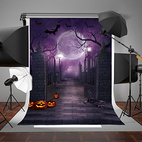 (Aparty4u 5x7FT Halloween Photo Cloth Backdrop Photography Background for Halloween Party Decorations Studio Photo Props)
