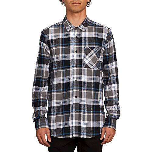 (Volcom Men's Caden Plaid Long Sleeve Flannel Shirt, Pewter, Large)
