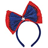 Amscan Star Spangled Fourth of July Party Patriotic Bow Headband Accessories, Plastic Childrens-Costume-Hairwork, 7'' X 5''