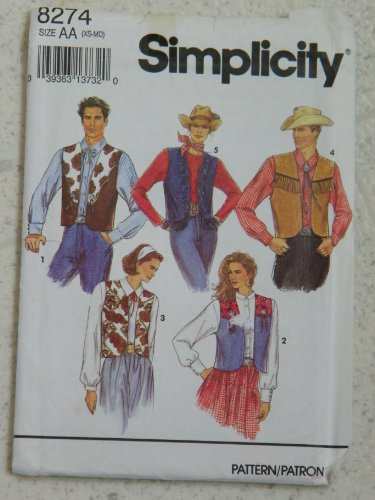 (Simplicity Sewing Pattern 8274 Misses, Men's or Teen Boys' Western Vest Size AA(XS-M))
