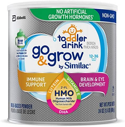 Go & Grow by Similac Toddler Drink with 2'-FL HMO for Immune Support, Non-GMO, Powder, 24 oz
