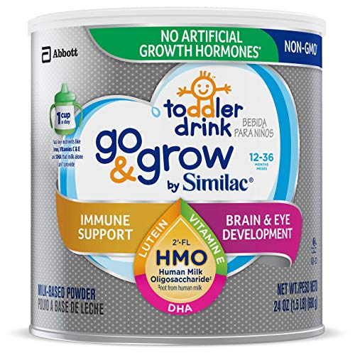 Go & Grow by Similac Toddler Drink with 2'-FL HMO for Immune Support, Non-GMO, Powder, 24 oz (Best Formula Milk For 1 Year Old Baby)