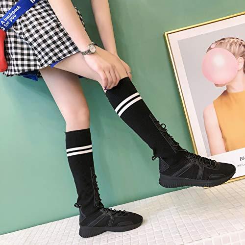 Lucdespo alte Wind Calzini Shoes Istituto Sports nero Stivali Casual Scarpe Stripes elastici Socks Ladies Classic Fashion FvI0rxwF