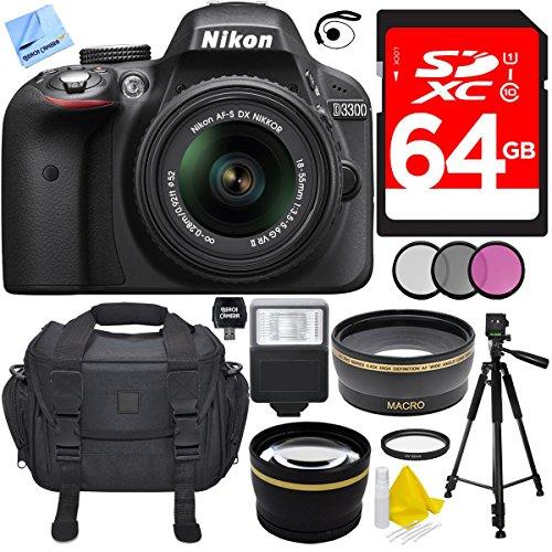 """Nikon D3300 Black 24.2MP DSLR Camera AF-S NIKKOR 18-55mm Lens Ultimate Bundle Includes Wide Angle & 2x Telephoto Lenses, Filter Kit, Flash, 64GB Memory Card, Camera Bag, 57"""" Tripod & Much More"""