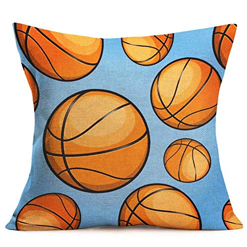 - Dozili Decorative Throw Pillow Cover Blue Basketball Cotton Linen Pillow Case Cushion Cover for Home Couch Sofa Bedroom Decoration