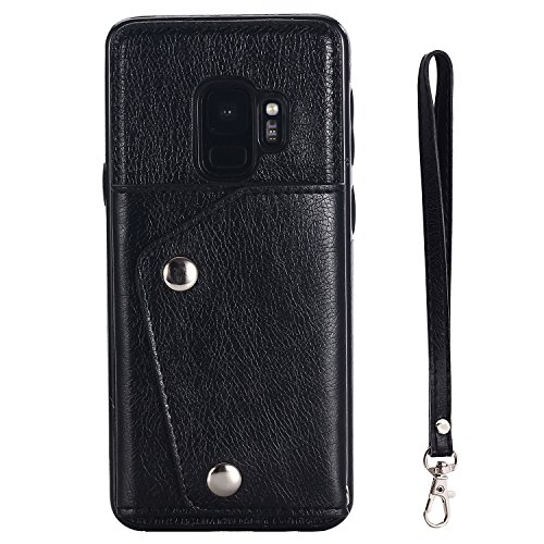 FLY HAWK Samsung Note 8 Leather Phone Case Wallet Smart Kickstand Card Holder Cover with Hand Straps, Black