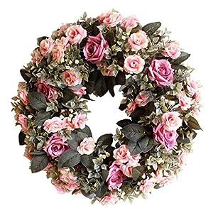 "Evoio Artificial Flower Wreath, 17.7""/45cm Artificial Rose Wreaths DIY Silk Flowers Garland Pendant for Front Door Wall Home Wedding Decoration Circular (Purple) 8"
