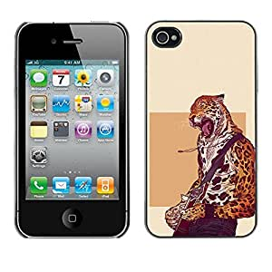 Stuss Case / Funda Carcasa protectora - Cheetah estrella del rock - Cool Cat - iPhone 4 / 4S