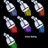 Ambox LED Shower Head, All Chrome Water Temperature Controlled 7 Color Changing LED ShowerHead for Bathroom, Color of LED Lights Changes Automatically According to Water Temperature, No Battery Needed