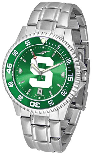 Michigan State Spartans Competitor Steel AnoChrome Color Bezel Men's Watch ()