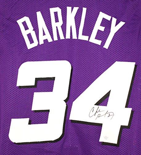 Autographed Basketball Barkley (Charles Barkley Phoenix Suns Signed Autographed Purple #34 Custom Jersey PAAS COA)