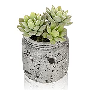 MyGift 4.7-Inch Realistic Artificial Green Succulent Plant Arrangement in Vintage Distressed Gray Ceramic Jar Pot 31
