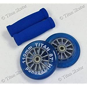 BLUE Razor Pro XX Replacement Set - 110mm Scooter Wheels, Bearings, Handle Grips