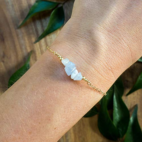 - Blue lace agate bead bar crystal bracelet in 14k gold fill - 6