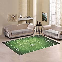 D-Story Floor Decor Grunge Football Field With Close Up Of Midfield And White Chalk Drawn Lines Area Rug Carpet Floor Rug 7'x5' For Living Room Bedroom