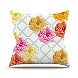 Kess InHouse Pellerina Design Trellis Peonies Yellow Flowers Outdoor Throw Pillow, 16 by 16-Inch