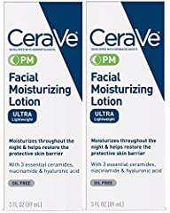 CeraVe facial moisturizing lotion PM helps repair damaged skin and maintain the skin's natural protective function with ingredients not commonly found in other moisturizers. Its patented multivesicular emulsion (MVE) technology releases these...