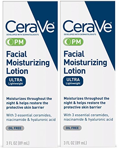 CeraVe Facial Moisturizing Lotion PM | 3 Ounce (Pack of 2) | Ultra Lightweight, Night Face Moisturizer | Fragrance Free (Best Sunscreen To Use Under Makeup)